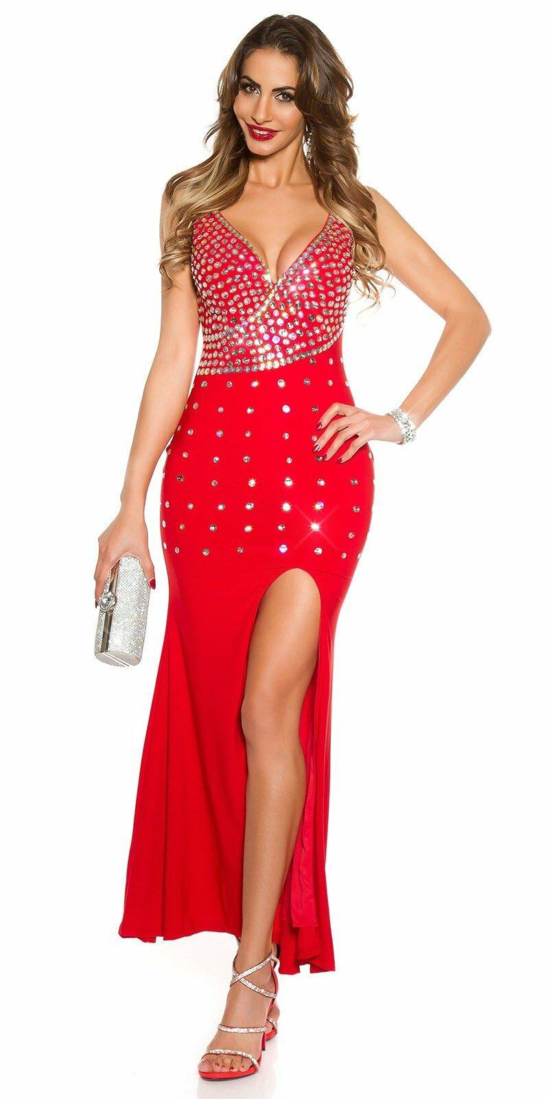 Kamienkové večerné šaty bez rukávov  Veľkosť S Farba Červená bd9c97278de