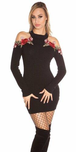Úpletové šaty s odhalenými ramenami zdobenými kvetinovými výšivkami Čierna