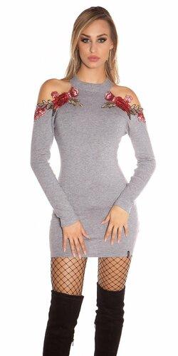 Úpletové šaty s odhalenými ramenami zdobenými kvetinovými výšivkami Šedá