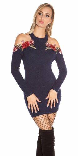 Úpletové šaty s odhalenými ramenami zdobenými kvetinovými výšivkami Tmavomodrá