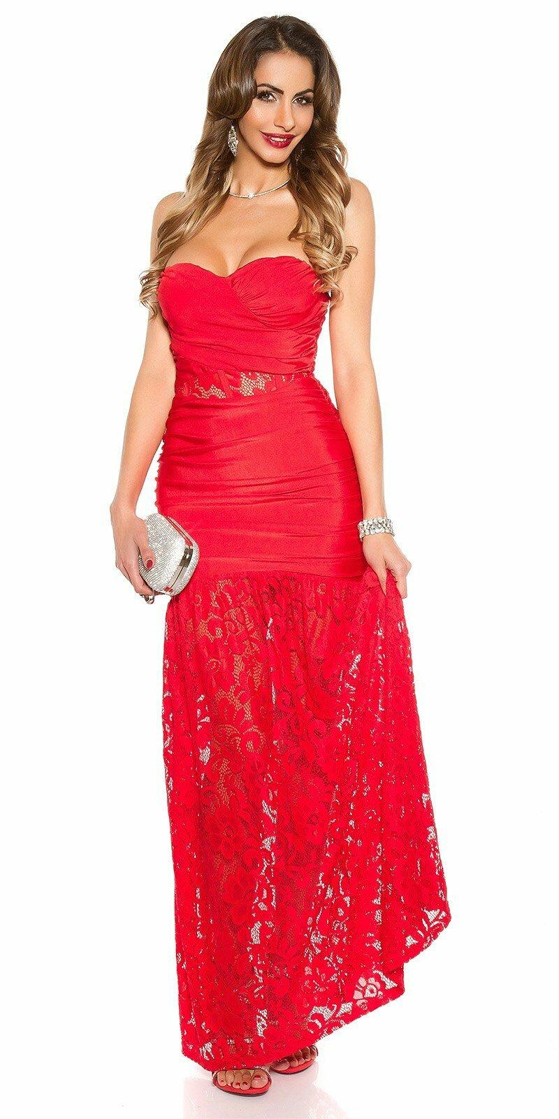 Večerné šaty s čipkou  Veľkosť S Farba Červená 1fdab5449a