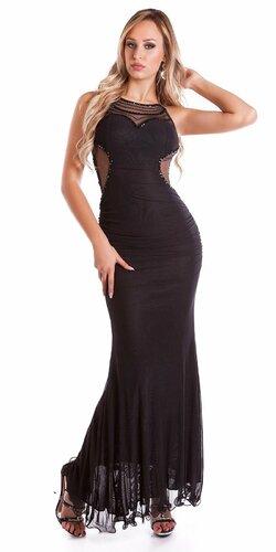 KouCla plesové šaty so sieťkou Čierna