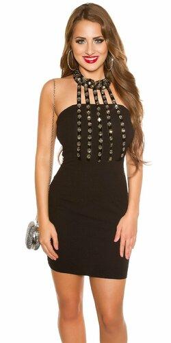 Výrazné mini šaty s kamienkami | Čierna