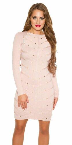 Pletené šaty zdobené s nitmi | Bledá ružová