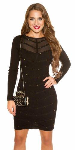 Pletené šaty zdobené s nitmi Čierna