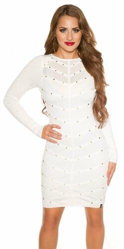 Pletené šaty zdobené s nitmi | Biela
