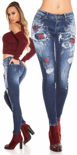 Modré džínsy s kvetinovými výšivkami | Modrá