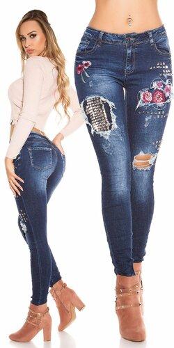 Bedrové džínsy s nitmi a výšivkami | Modrá