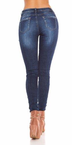 Bedrové džínsy s nitmi a výšivkami Modrá