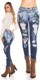 Modré skinny džínsy s veľkými nášivkami Modrá