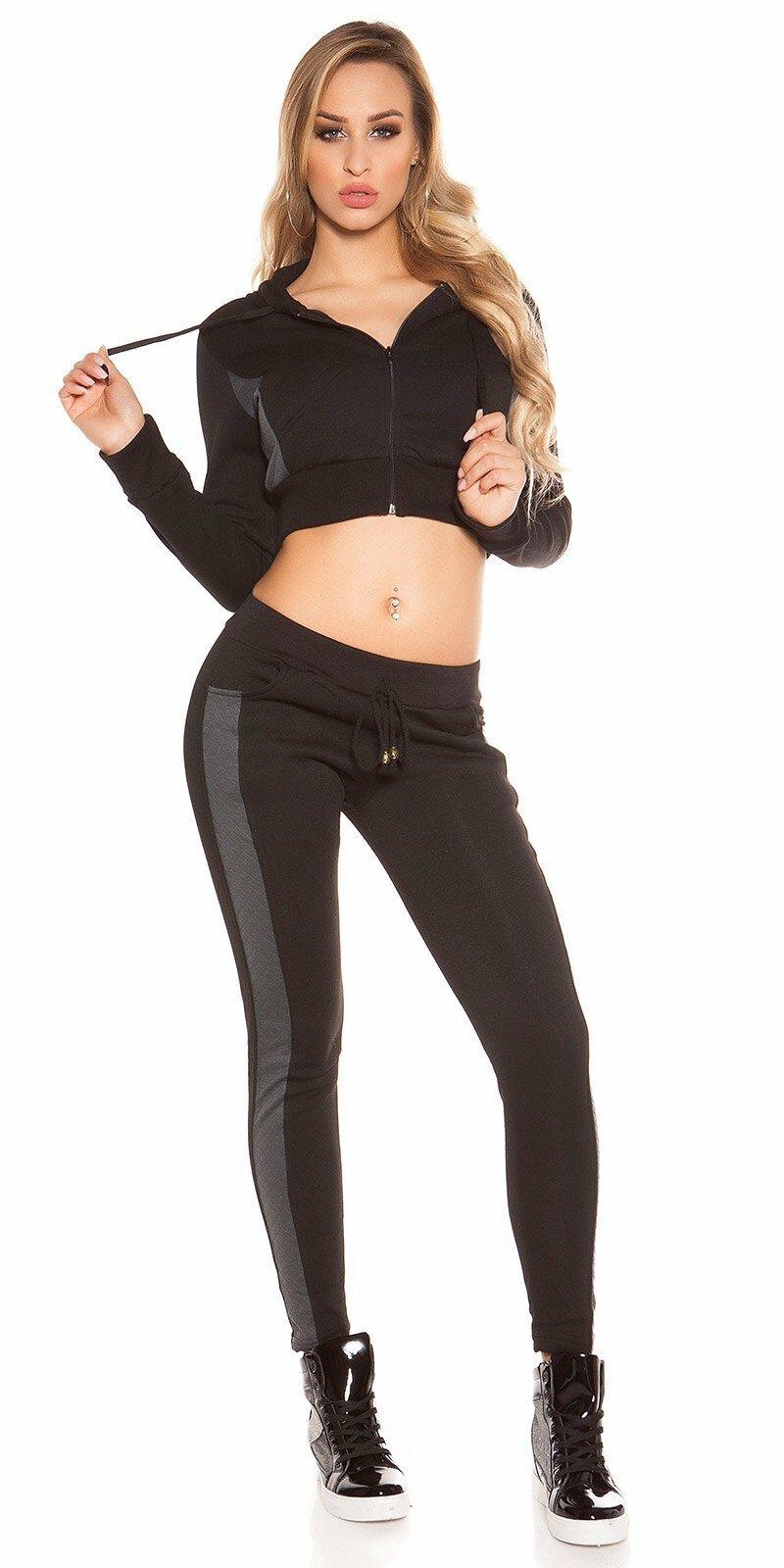 Dámska športová tepláková súprava #Veľkosť L/XL Farba Čierna