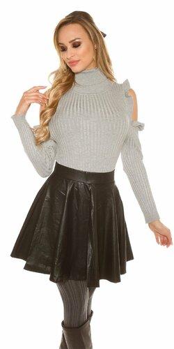 Mini sukňa koženého vzhľadu so zipsom | Čierna