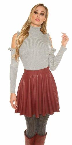 Mini sukňa koženého vzhľadu so zipsom | Bordová