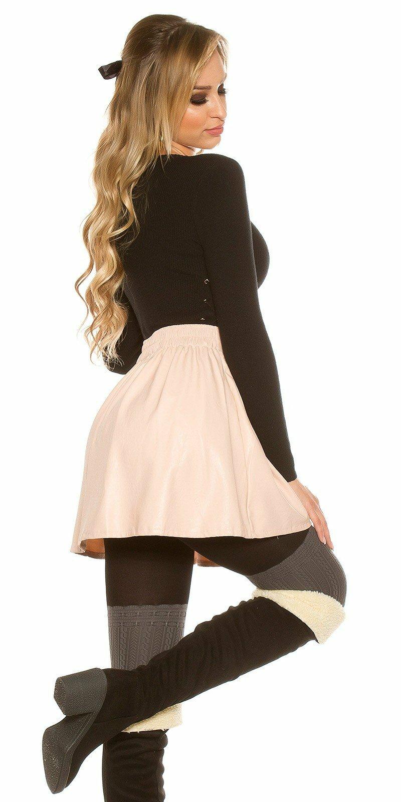 c5acf5228416 ... Nariasená sukňa koženého vzhľadu Bledá ružová ...