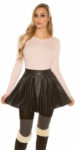 Nariasená sukňa koženého vzhľadu Čierna