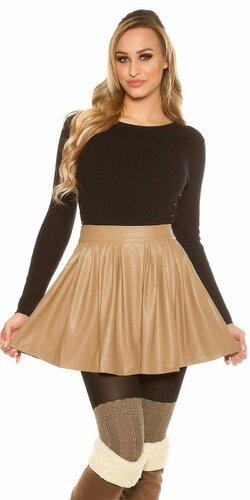 Nariasená sukňa koženého vzhľadu | Cappuccino