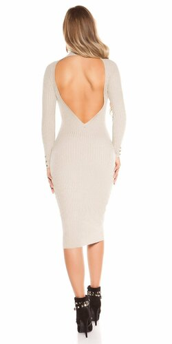 Dlhé pletené šaty so sexy chrbtom | Béžová