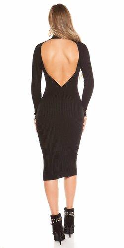 Dlhé pletené šaty so sexy chrbtom Čierna