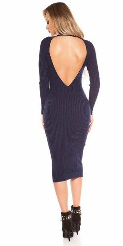 Dlhé pletené šaty so sexy chrbtom Tmavomodrá