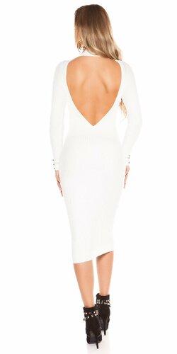 Dlhé pletené šaty so sexy chrbtom Biela