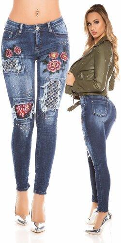 Sexy skinny džínsy s výšivkami | Modrá