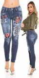 Sexy skinny džínsy s výšivkami Modrá