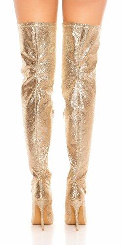 Lesklé čižmy nad kolená Zlatá
