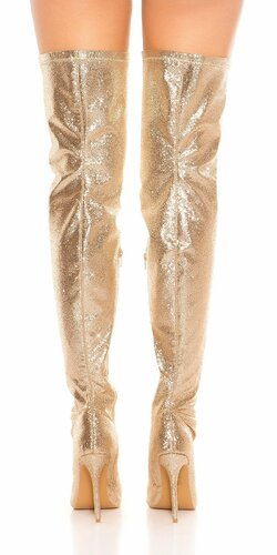 Trblietavé čižmy nad kolená Zlatá
