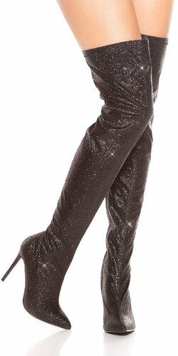 Trblietavé čižmy nad kolená | Čierna