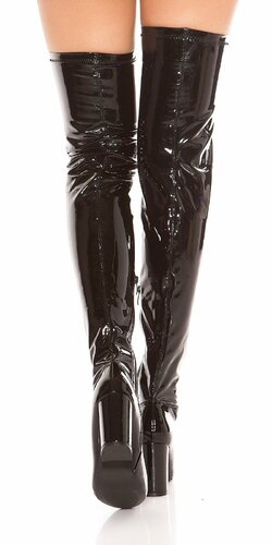 Vysoké čižmy lakovaného vzhľadu Čierna
