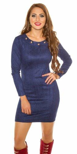 Mini šaty ,,Velours look,, | Tmavomodrá