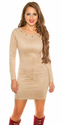 Mini šaty ,,Velours look,, | Béžová