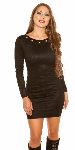 Mini šaty ,,Velours look,, | Čierna