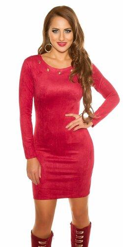 Mini šaty ,,Velours look,, | Červená