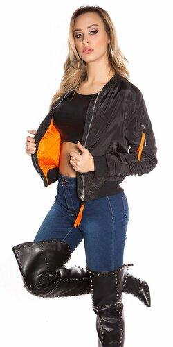 Dámska bomber bunda s oranžovým vnútrom Čierna