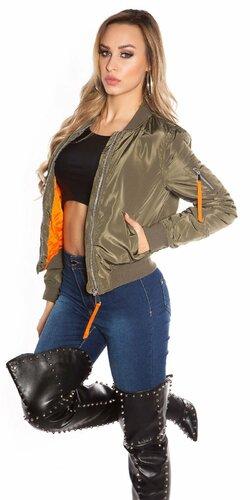 Dámska bomber bunda s oranžovým vnútrom Khaky