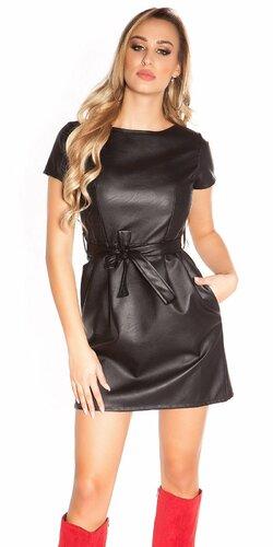 Mini šaty koženého vzhľadu s opaskom | Čierna