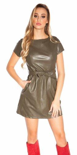 Mini šaty koženého vzhľadu s opaskom | Khaki