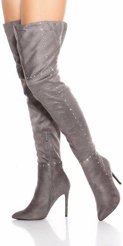 Kamienkové vysoké čižmy nad kolená na podpätku