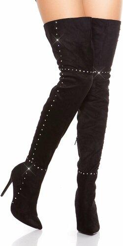Kamienkové vysoké čižmy nad kolená na podpätku | Čierna