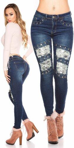 Bedrové džínsy s flitrami | Modrá