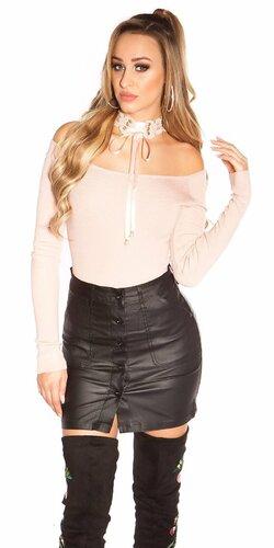 Áčková sukňa koženého vzhľadu