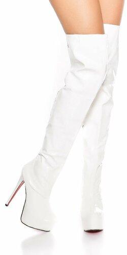 Platformové čižmy nad kolená koženého vzhľadu Biela