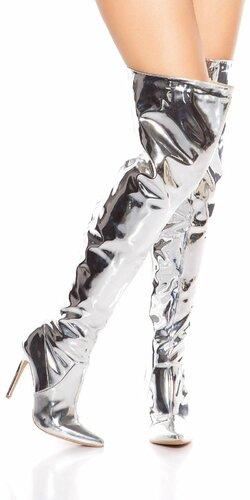 Metalické čižmy nad kolená Strieborná