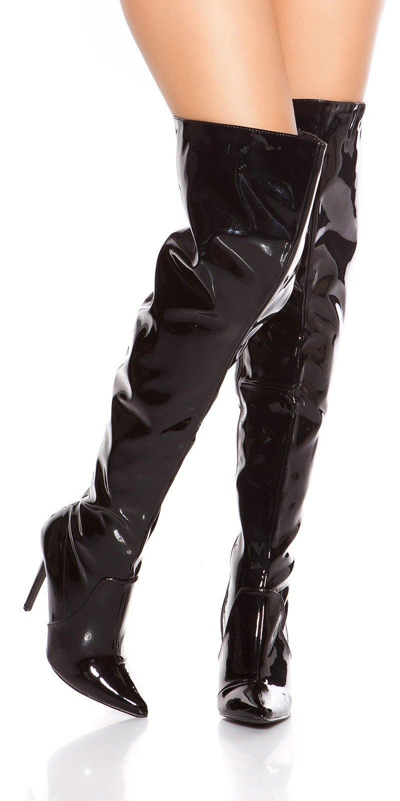 f485e54f8ae2 Lesklé čižmy nad kolená Čierna ...