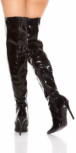 Lesklé čižmy nad kolená Čierna