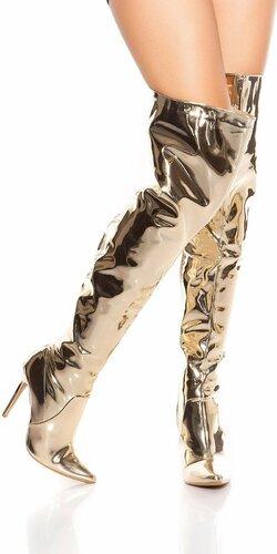 Metalické čižmy nad kolená Zlatá