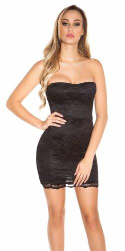 Čipkované mini šaty čierne | Čierna
