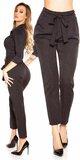 Elegantné nohavice so zvýšeným pásom Čierna
