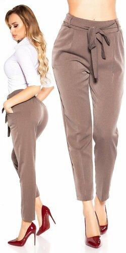 Elegantné nohavice so zvýšeným pásom Cappuccino